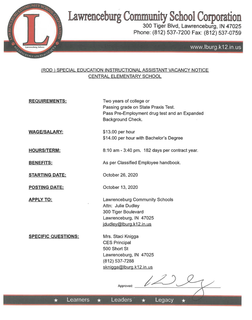 CES Instructional Assistant Posting
