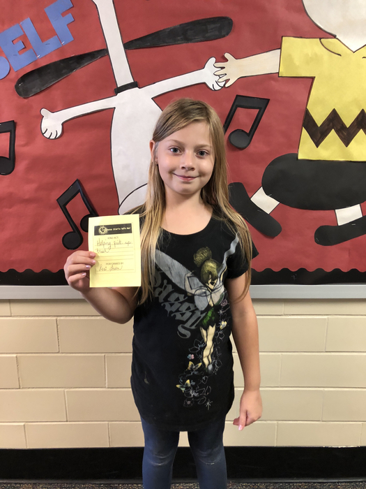 Student recognized for Kindness Starts With Me!
