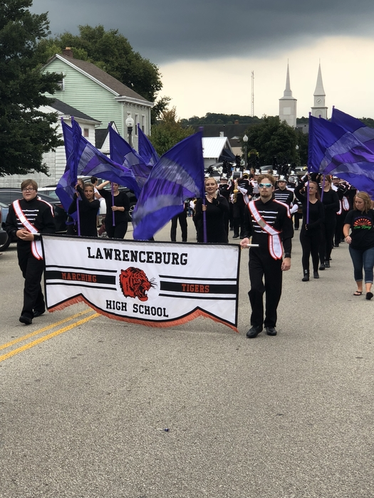 LHS Marching Band leading the 2018 Homecoming Parade.