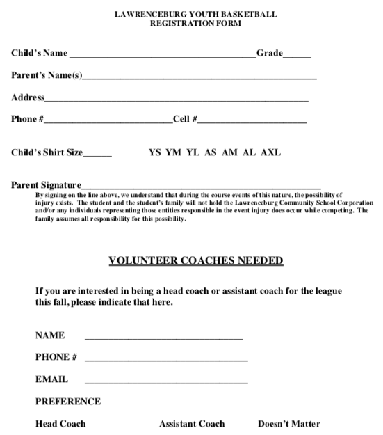 Youth Basketball Sign Ups Sheet 1