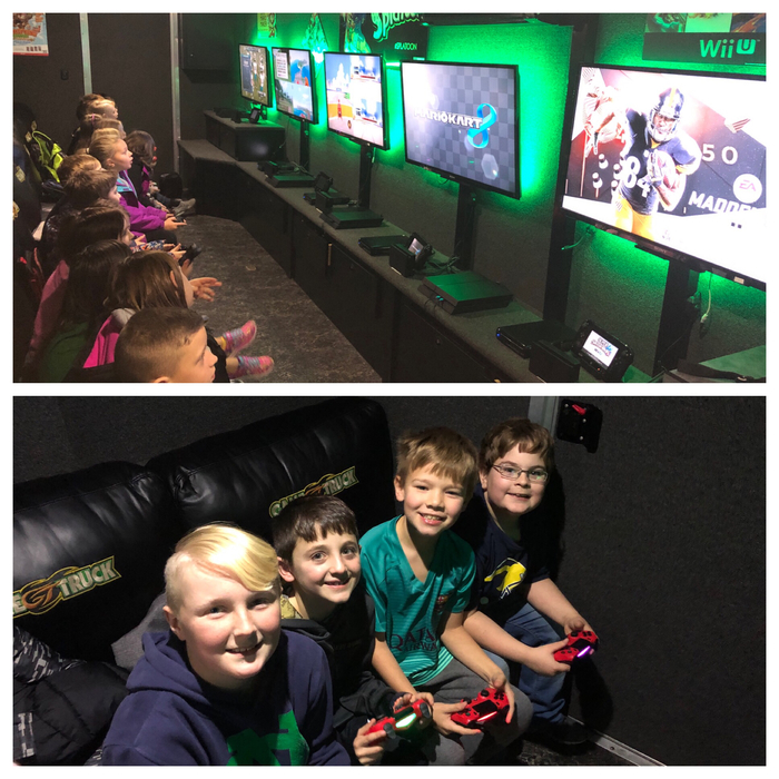 Students in game truck.