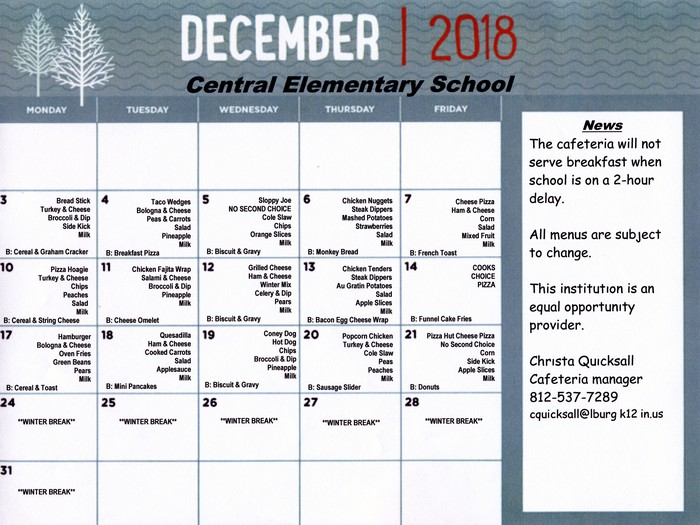 CES December 2018 Lunch Menu