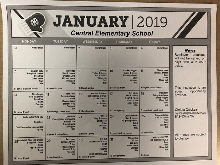January Lunch Calendar