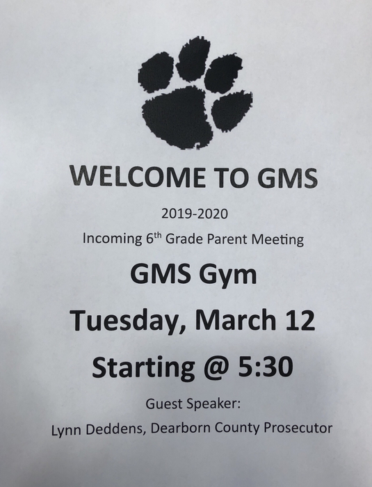 6th grade meeting for parents at GMS