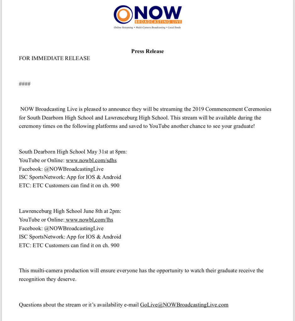 2019 LHS Graduation Viewing Options