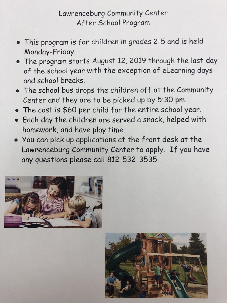 2019-2020 Lawrenceburg Community Center After School Program Information